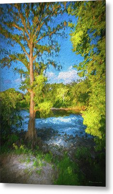 Cypress Tree By The River Metal Print by Marvin Spates