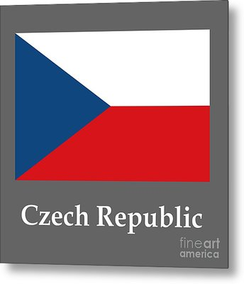 Czech Republic Flag And Name Metal Print by Frederick Holiday