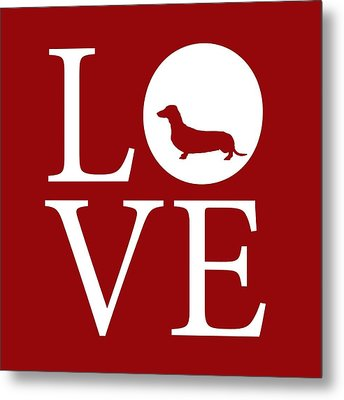 Dachshund Love Red Metal Print