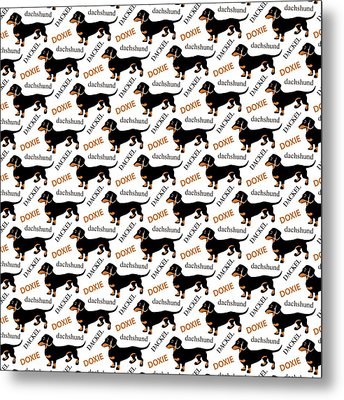 Dachshund Lover's Pattern Metal Print