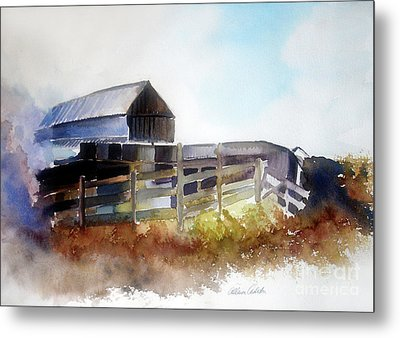 Metal Print featuring the painting Dad's Farm House by Allison Ashton