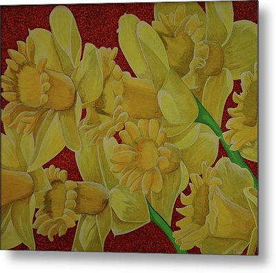 Metal Print featuring the painting Daffodil Grandiflora by Paul Amaranto
