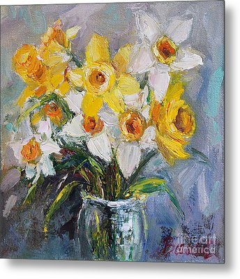 Daffodil In Spring  Metal Print by Jennifer Beaudet