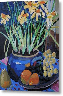 Daffodills And Fruit Metal Print