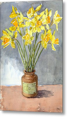 Daffodils In A Pot. Metal Print by Mike Lester