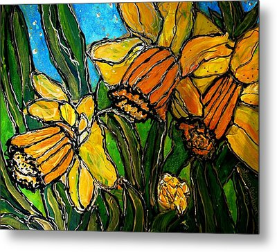 Metal Print featuring the painting Daffodils by Laura  Grisham