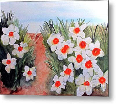Metal Print featuring the painting Daffodils by Sandy McIntire