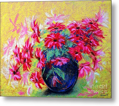 Daisies And Blue Vase Metal Print by Jasna Dragun