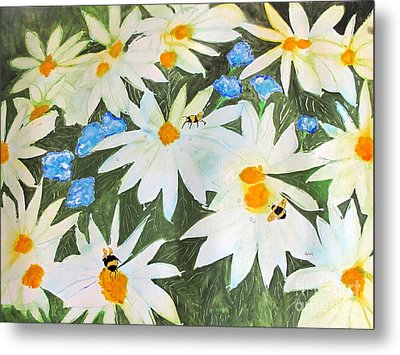 Metal Print featuring the painting Daisies And Bumblebees by Sandy McIntire