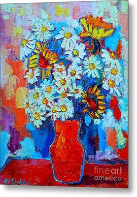 Daisies And Sunflowers Metal Print by Ana Maria Edulescu