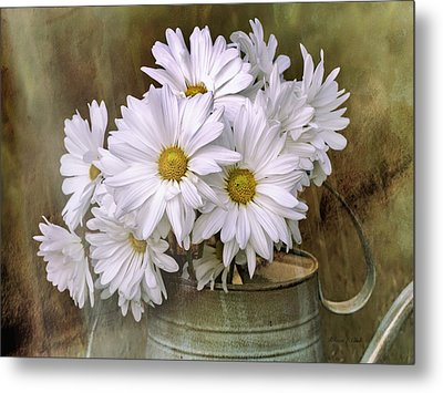 Metal Print featuring the photograph Daisies In Antique Watering Can by Bellesouth Studio