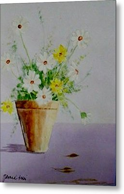 Metal Print featuring the painting Daisies In Pot by Jamie Frier