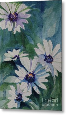 Daisies In The Blue Metal Print by Gretchen Bjornson