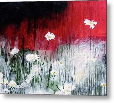 Metal Print featuring the painting Daisies by Mary Ellen Frazee