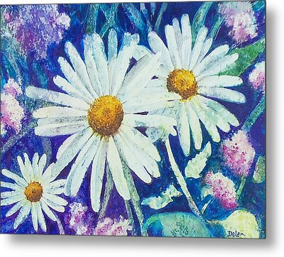 Metal Print featuring the painting Daisies by Susan DeLain