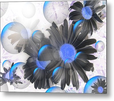Daisy Bubbles Metal Print