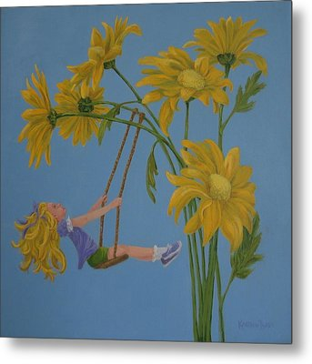 Metal Print featuring the painting Daisy Days by Karen Ilari