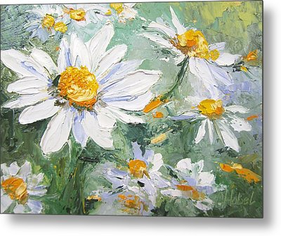 Daisy Delight Palette Knife Painting Metal Print