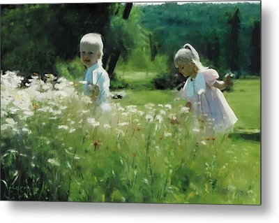 Daisy Field Of Innocents Metal Print by Elzire S
