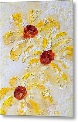Metal Print featuring the painting Daisy Trio by Chris Rice