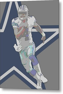 Dak Prescott Dallas Cowboys Contour Art Metal Print by Joe Hamilton