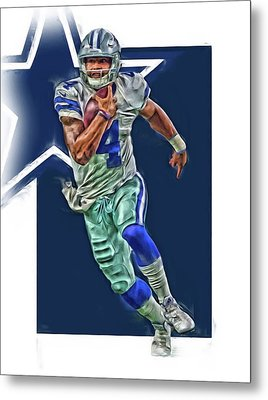Dak Prescott Dallas Cowboys Oil Art Series 1 Metal Print by Joe Hamilton