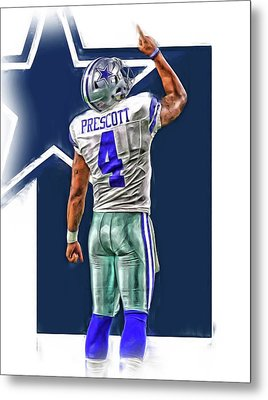 Dak Prescott Dallas Cowboys Oil Art Series 2 Metal Print