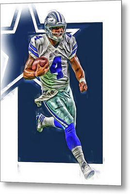 Dak Prescott Dallas Cowboys Oil Art Series 3 Metal Print by Joe Hamilton