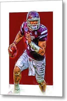 Dak Prescott Mississipi State Oil Art Series 1 Metal Print by Joe Hamilton