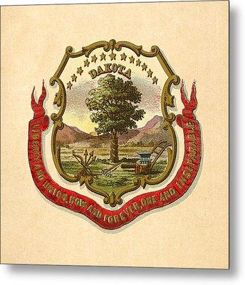 Dakota Territory Historical Coat Of Arms Circa 1876 Metal Print