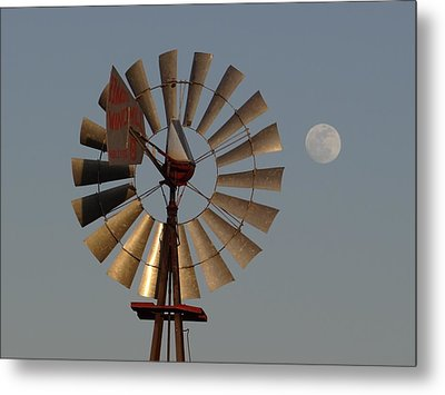 Dakota Windmill And Moon Metal Print by Keith Stokes