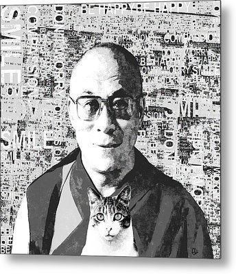 Dalai Lama And Cat Metal Print by Stacey Chiew