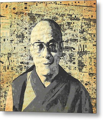 Dalai Lama - Retro Vintage Metal Print by Stacey Chiew