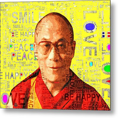 Dalai Lama - Yellow Metal Print by Stacey Chiew