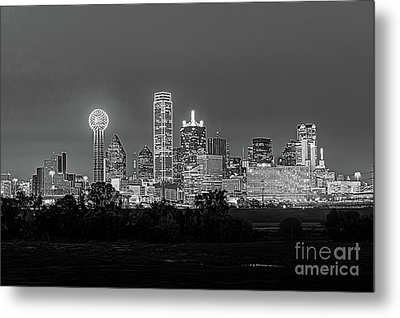 Dallas After Dark Black And White Metal Print by Tod and Cynthia Grubbs