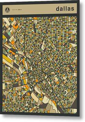 Dallas City Map Metal Print