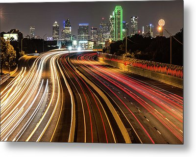 Dallas City Skyline At Night Metal Print