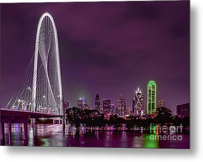 Dallas Lights Reflected Into Overcast Night Skies Metal Print