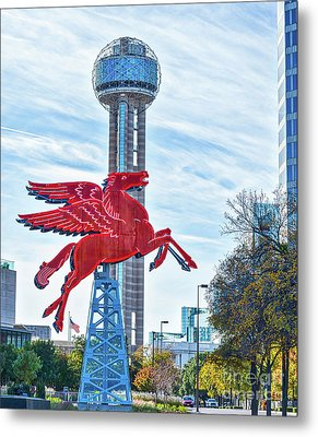 Dallas Pegasus With Reunion Tower Metal Print by Tod and Cynthia Grubbs