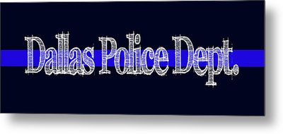 Dallas Police Dept. Blue Line Mug Metal Print by Robert J Sadler