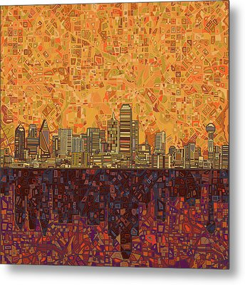 Dallas Skyline Abstract Metal Print