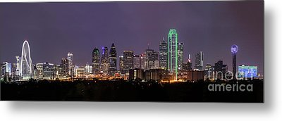 Dallas Skyline At Night Pano Metal Print by Tod and Cynthia Grubbs