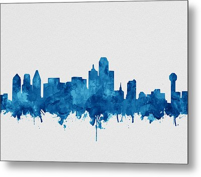 Dallas Skyline Blue Metal Print