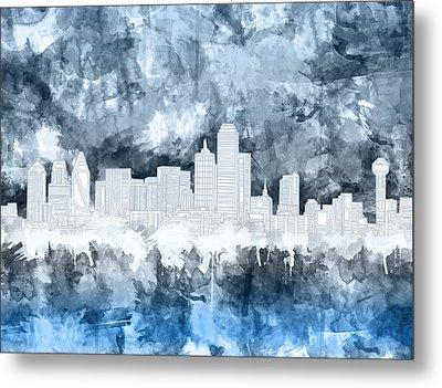 Dallas Skyline Brush Strokes Blue 2 Metal Print