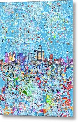 Dallas Skyline Map Blue 3 Metal Print