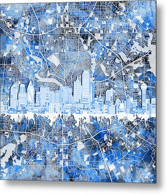 Dallas Skyline Map Blue 5 Metal Print