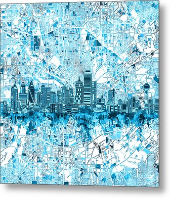Dallas Skyline Map Blue 6 Metal Print