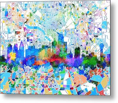 Dallas Skyline Map Color 2 Metal Print