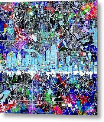 Dallas Skyline Map Color 4 Metal Print