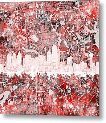Dallas Skyline Map Red 2 Metal Print
